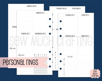 Printed Personal Size Week on Two Pages in Vertical Layout WITH Checklist