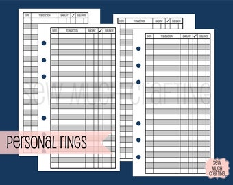 Printed Personal Size Checkbook Register Style Inserts