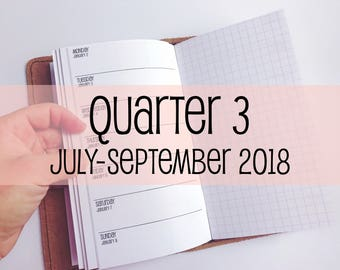Traveler's Notebook PERSONAL Size Week on One Page with Grid {Q3 | July-September 2018} #700-23