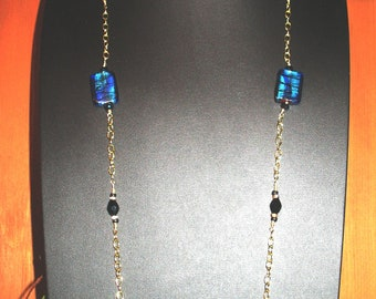 Blue Morano Silver Foiled Beaded Gold Necklace