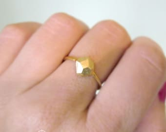 Faceted Ring, Unique Solid Gold Ring, Geometric Gold Ring, Hand Made Jewelry, Raw Gold Ring, Artistic Ring, Contemporary Ring, Delicate Ring