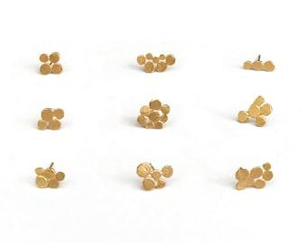 Singles, minimalist single stud earrings, mini cluster tiny earrings, golden stacking small earrings, hand made jewelry, studio baladi