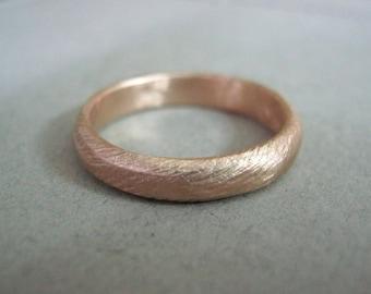 Unique Rose Gold Wedding Band, Unisex Wedding Band, Fine Jewelry, Minimalist Rose Gold Ring, Textured Wedding Band, Rustic Wedding Band