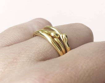 Drop Ring, Thin Gold Stacking Ring, Unique Stacking Ring, Unique Gold Jewelry, Artistic Ring, Rustic Gold Ring, Asymmetrical Ring, Delicate