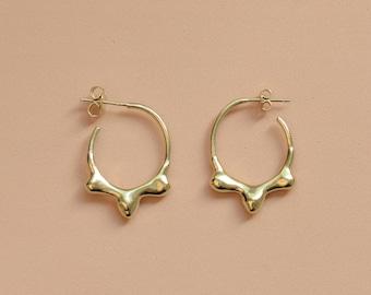 Crown Mercury small hoop earrings, silver hoops, gold hoops,amorphous jewelry, Christmas gift for her, Hanukkah present,quick silver baladi