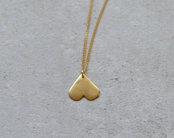Gold Heart Necklace, Gold Layered Necklace, Heart Jewelry, Unique Heart Necklace, Necklace for Girlfriend, Minimalist Heart Necklace