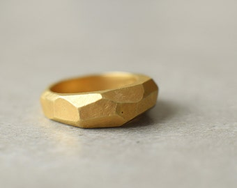 gold faceted ring, gold plated men's ring, holiday gift, heavy ring, geometric, rustic, raw, unisex ring, gift for man