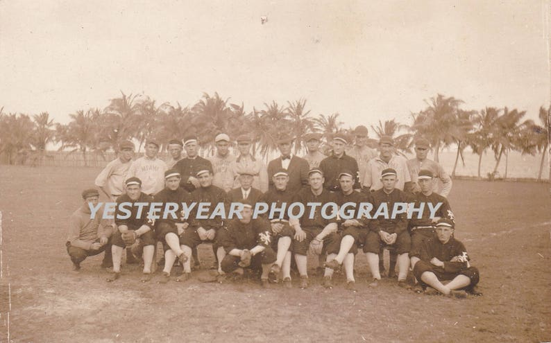 Major League New York Giants Baseball Team Circa 1912 At Spring Training Game In Miami Postcard Instant Digital Download