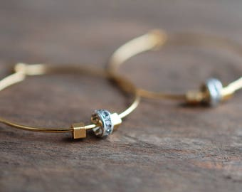 sparkle . gold plated hoop earrings . gift ideas for her . festive jewelry
