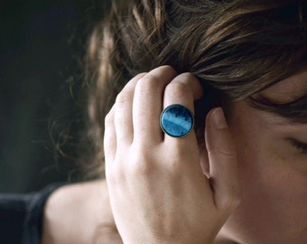 DeepSea . Adjustable blue ring / boho jewelry /  gifts for her