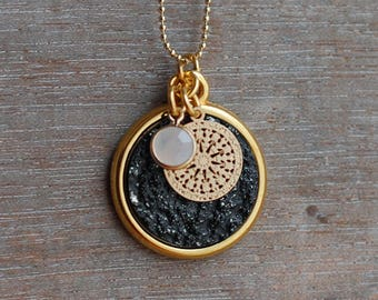 boho rock . black gold cabochon necklace druzy / inspirational / gifts for her /