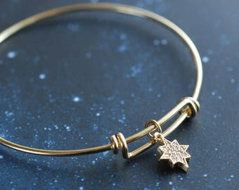 North star. Bangle cubic zirconia star, gifts for women, party jewelry . inspirational
