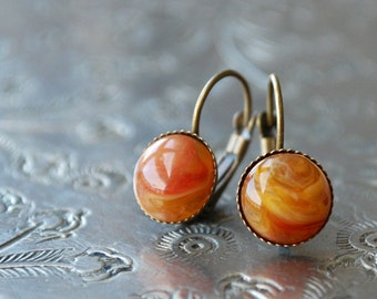 "milk & honey  """" Cabochon Earrings / spice colors / autumn"