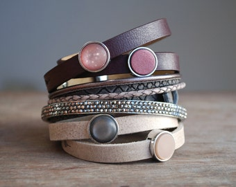 Redwood . Burgundy red leather wrap bracelet // gift ideas for her // mother's day gifts