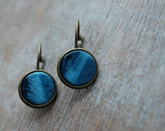 Deep Sea* blue marbled Cabochon Earrings