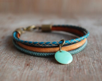 Orange Thyme * womens boho leather bracelet //  turquoise / inspirational  gifts for women