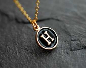 Black gold initial necklace / name necklace / custom jewelry / personalized jewelry