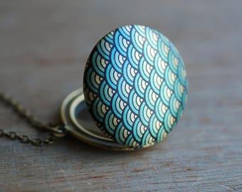 Print locket necklace / keepsake / Asia inspired / coachella / boho stocking stuffer