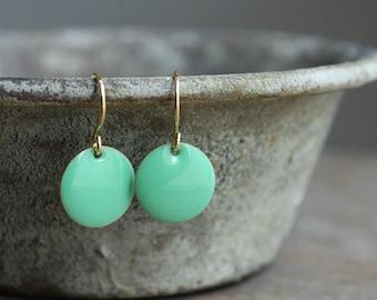 mint green enamel earrings . gold plated brass hooks