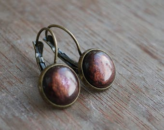 Lalia . burgundy-red marbled Cabochon Earrings