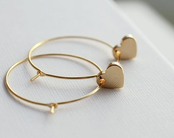 Hearts . gold plated hoop earrings . gifts for her . mothers day gift