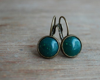 "Sparklin' green """" Tiny emerald green Cabochon Earrings"