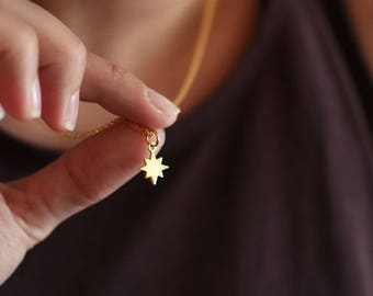 North-Star . Delicate Necklace . star charm . gold plated . gift ideas for women . travel