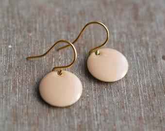 Minimalist enamel earrings . rosé quartz / gold / blush jewelry / comfortable