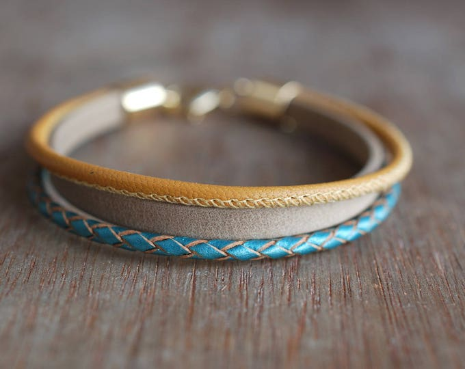Featured listing image: Paradise . Braided leather bracelet for women  //  handmade gifts for her // tropical style