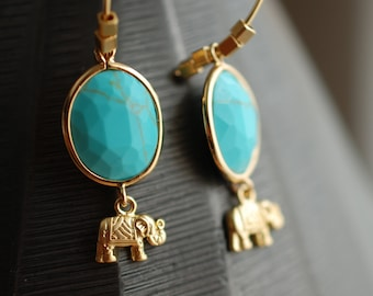 Turquoise and gold earrings . elephant, framed glass . boho . gifts for her . fall trends . christmas gifts