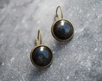 Midnight blue Cabochon Earrings / shimmery / festive