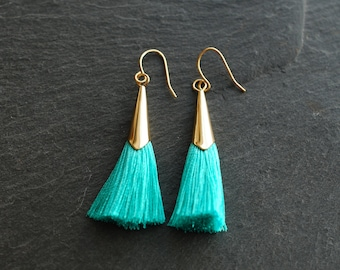 Turquoise tassel statement earrings  . trend . gifts for her . dangle earrings . christmas gifts