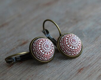 Silky red mosaic earrings / red white / winter jewelry / geometric / urban romantic