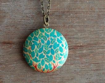 Print locket necklace / keepsake / tree, leafs, / coachella / boho stocking stuffer / Valentine's gift