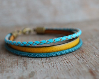 New World * Braided leather bracelet stackable // women wanderlust layered stacking //  gifts for her // fall fashion