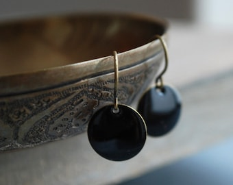Black minimal style earrings with antique-bronze earhooks / hostess gift // jewelry // elegant // Stocking Stuffer for Her Under 15