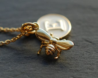 Honey . inspirational necklace / bee / Initial necklace / name necklace / custom jewelry / personalized jewelry