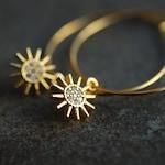 Sun sparkle . Celestial gold plated hoop earrings . inspriring gift ideas for her .