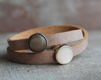 Siena . Natural brown leather wrap bracelet // pastel peach, brown / gifts for her /  / for her // winter