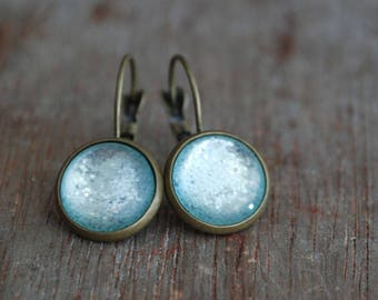 Dazzling Green Cabochon Earrings, Summer earrings, aqua, glimmering green