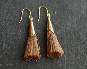Light brown tassel statement earrings  . trend . gifts for her . dangle earrings . christmas gifts