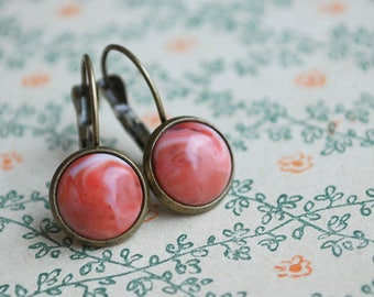 "Tiny Corals """" Coral red cabochon Earrings // retro style // vintage style // for her"