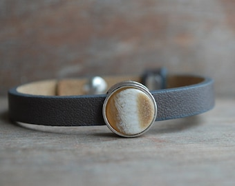 "grey womens leather bracelet ""Sepia"" // slider, grey, beige / boho style / for her // winter"