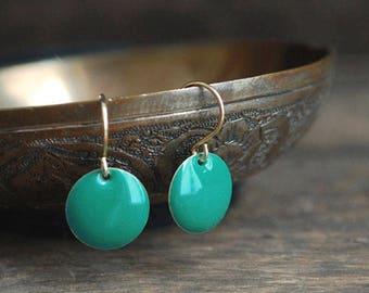 Turquoise-green enamel earrings // modern // elegant // gold //