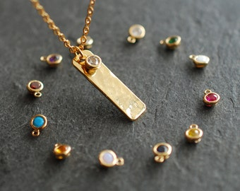 Birthstone bar necklace /  personalized necklace  / personalized Birthday gift  / birthstone jewelry / birthday necklace