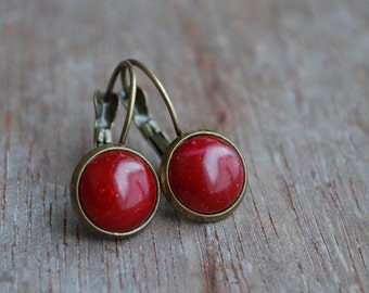 "Rouge dorée """" Cabochon Earrings // Ruby garnet red earrings // gift ideas, Valentine's day"