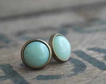 Jade green tiny cabochon earstuds antique bronze tone