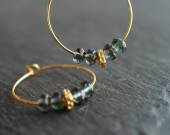 Midnight Blue . gold plated hoop earrings . gift ideas for her . boho earrings