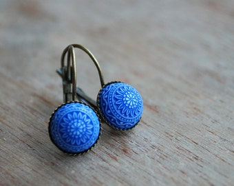 Blue mosaic // Cabochon Earrings // blue white earrings // gifts for women // boho inspired // nautical