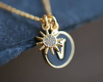 Sunshine . Letter Sun Necklace / name necklace / inspirational gift ideas for her / personalized necklace / Birthday gift